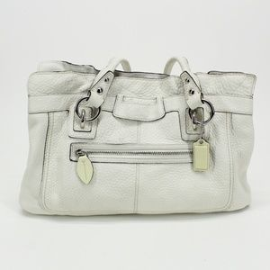 Coach White Leather Large Penelope Handbag